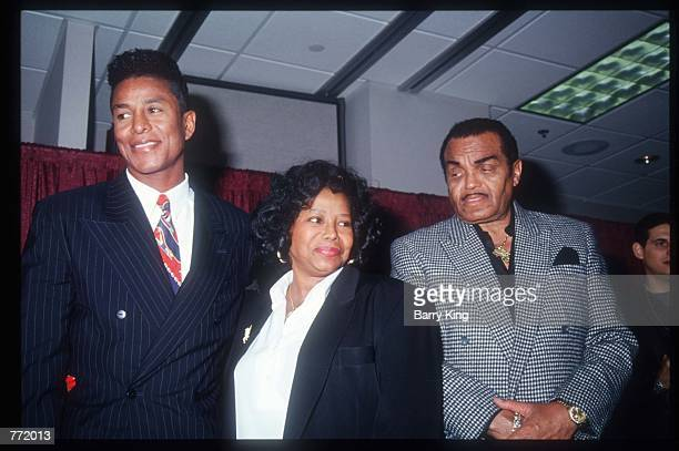 """Jermaine, Katherine and Joe Jackson stand at a press conference February 12, 1994 in Las Vegas, NV. In a special tribute show, """"Jackson Family..."""