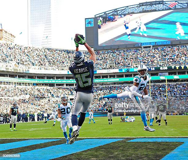 Jermaine Kearse of the Seattle Seahawks makes a catch for a touchdown against the Carolina Panthers during the NFC Divisional Playoff Game at Bank Of...