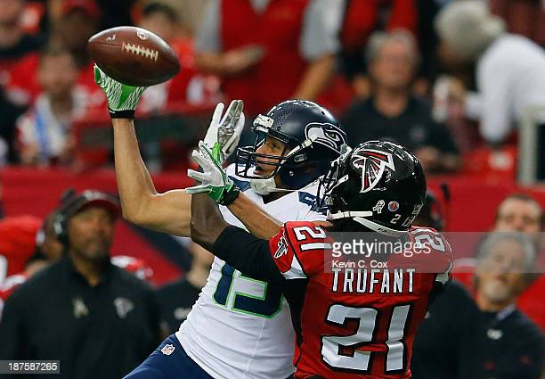 Jermaine Kearse of the Seattle Seahawks pulls in this reception against Desmond Trufant of the Atlanta Falcons at Georgia Dome on November 10 2013 in...