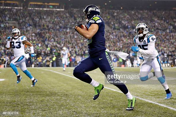 Jermaine Kearse of the Seattle Seahawks scores a 63 yard touchdown in the second quarter against the Carolina Panthers during the 2015 NFC Divisional...