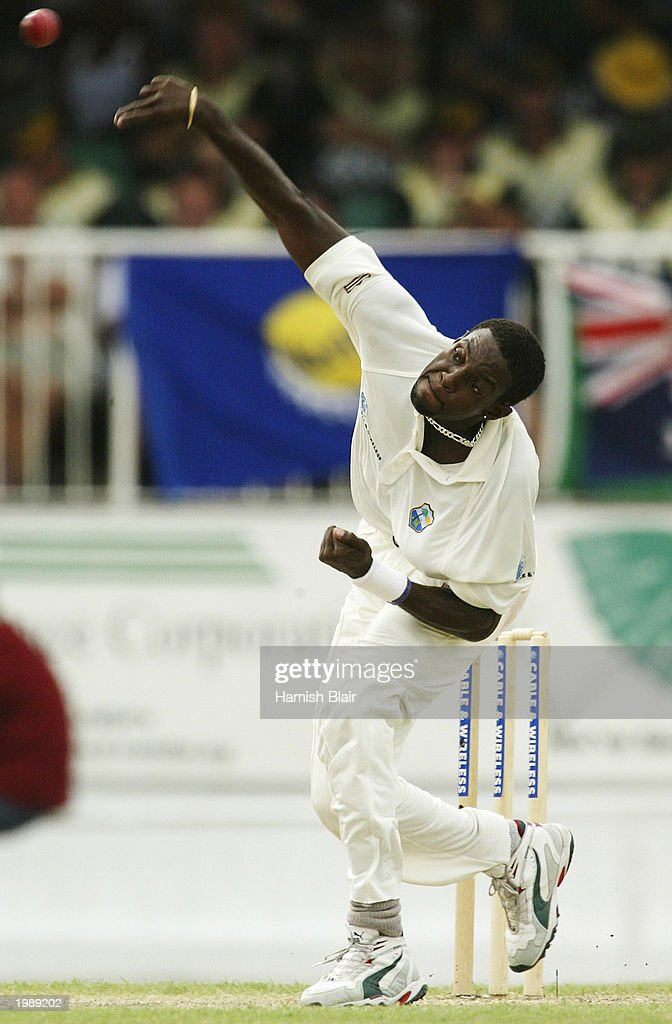 Jermaine Lawson of the West Indies bowls during day two of the Fourth Test between the West Indies and Australia on May 10, 2003 at the Recreation Oval in St John's, Antigua.