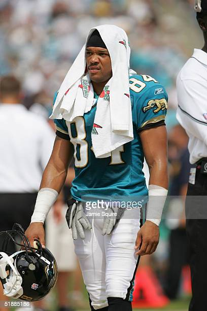 Jermaine Lewis of the Jacksonville Jaguars walks on the field with a Gatorade towel during the first half of the game against the Indianapolis Colts...