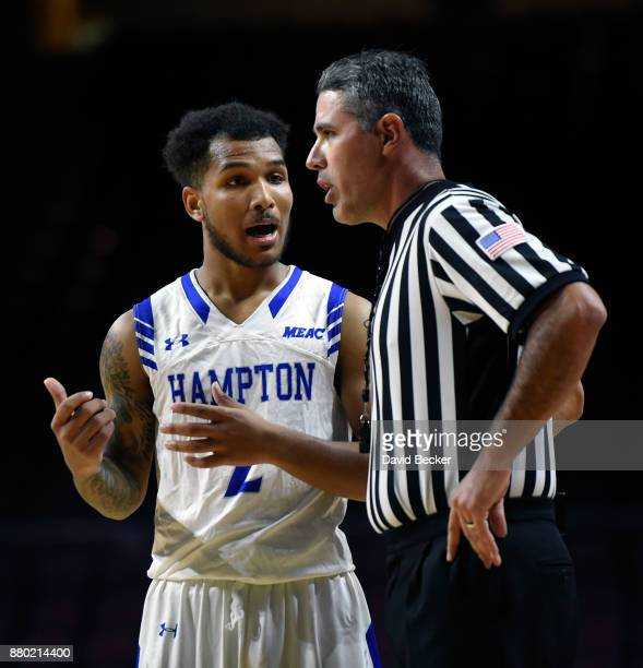 Jermaine Marrow of the Hampton Pirates talks with a referee during the championship game of the 2017 Continental Tire Las Vegas Invitational...