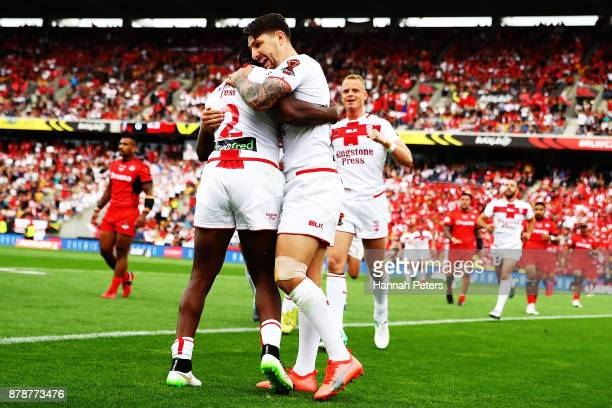 Jermaine McGillvary of England celebrates after scoring a try during the 2017 Rugby League World Cup Semi Final match between Tonga and England at Mt...