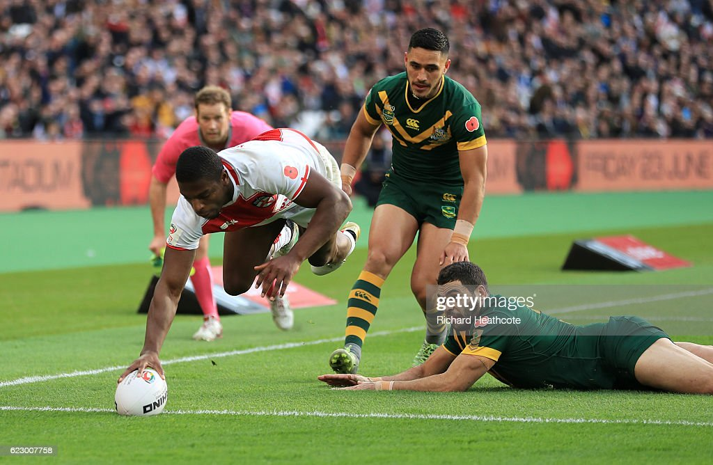 Jermaine McGillvary of England dives over to score the first try during the Four Nations match between the England and Australian Kangaroos at Olympic Stadium on November 13, 2016 in London, United Kingdom.