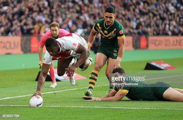 Jermaine McGillvary of England dives over to score the first try during the Four Nations match between the England and Australian Kangaroos at...