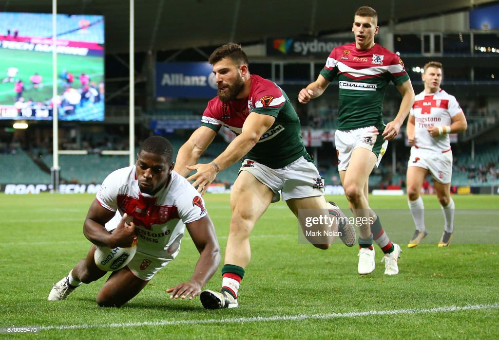Jermaine McGillvary of England dives to score a try witch was later dis-allowed during the 2017 Rugby League World Cup match between England and Lebanon at Allianz Stadium on November 4, 2017 in Sydney, Australia.