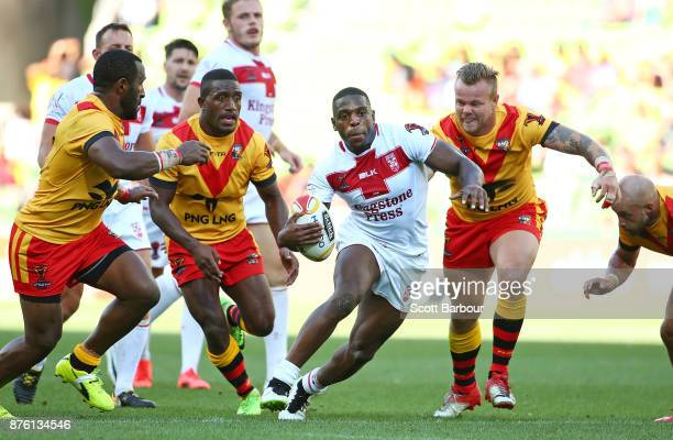 Jermaine McGillvary of England runs with the ball during the 2017 Rugby League World Cup Quarter Final match between England and Papua New Guinea...