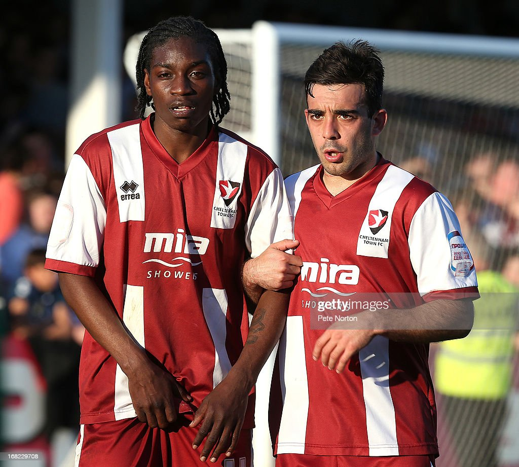 Jermaine McGlashan (L) and Sam Deering of Cheltenham Town line up to defend a free kick during the npower League Two Play Off Semi Final Second Leg between Cheltenham Town and Northampton Town at Abbey Business Stadium on May 5, 2013 in Cheltenham, England.
