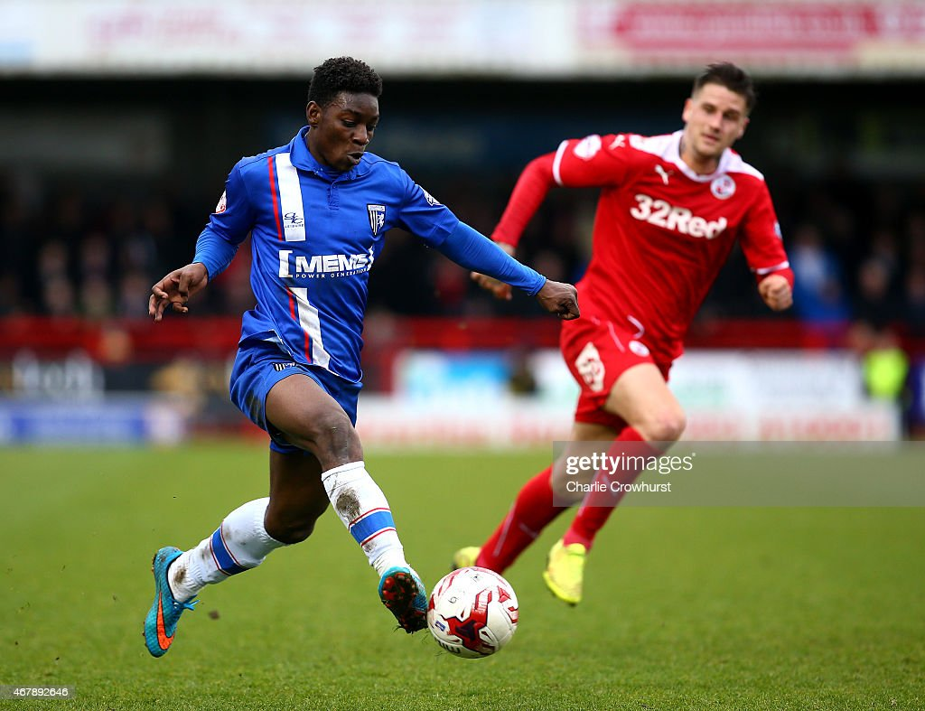 Jermaine McGlashan of Gllingham attacks during the Sky Bet League One match between Crawley Town and Gillingham at The Checkatrade.com Stadium on March 28, 2015 in Crawley, England.