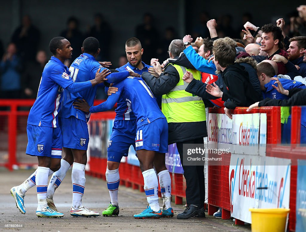 Jermaine McGlashan of Gllingham celebrates after scoring the teams winning goal during the Sky Bet League One match between Crawley Town and Gillingham at The Checkatrade.com Stadium on March 28, 2015 in Crawley, England.