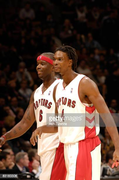 Jermaine O'Neal and Chris Bosh of the Toronto Raptors during a time out in a game against the New York Knicks on October 8th 2008 at the Air Canada...