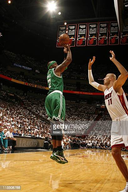 Jermaine O'Neal of the Boston Celtics shoots against Zydrunas Ilgauskas of the Miami Heat in Game One of the Eastern Conference Semifinals in the...