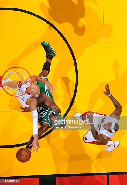 Jermaine O'Neal of the Boston Celtics shoots against Zydrunas Ilgauskas of the Miami Heat during Game Two of the Eastern Conference Semifinals in the...