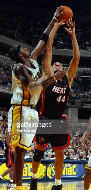 Jermaine O'Neal of the Indiana Pacers blocks the shot of Brian Grant of the Miami Heat on March 28, 2004 at Conseco Fieldhouse in Indianapolis,...