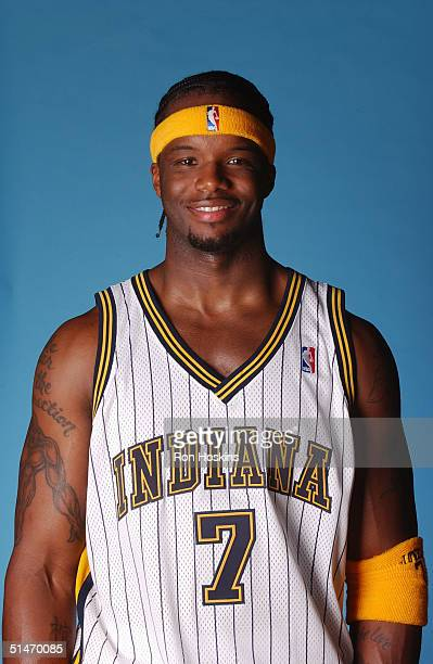 Jermaine O'Neal of the Indiana Pacers poses for a portrait during NBA Media Day on October 4 2004 in Indianapolis Indiana NOTE TO USER User expressly...