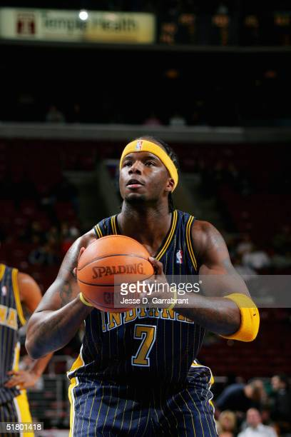 Jermaine O'Neal of the Indiana Pacers shoots s free throw against the Philadelphia 76ers on November 12 2004 at the Wachovia Center in Philadelphia...