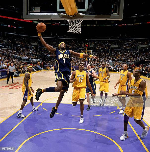 Jermaine O'Neal of the Indiana Pacers takes the ball to the basket during the game against the Los Angeles Lakers at Staples Center on January 9 2006...