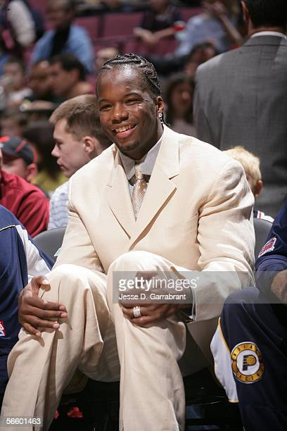 Jermaine O'Neal of the Indiana Pacers watches his team in NBA action against the game against the New Jersey Nets at the Continental Airlines Arena...
