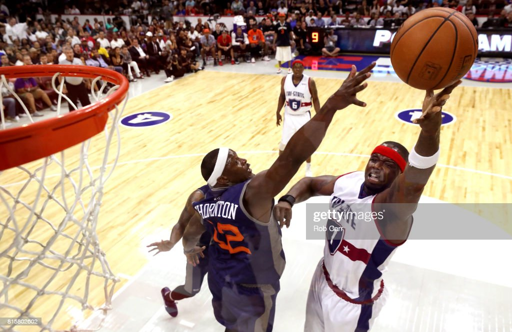 Jermaine O'Neal #7 of Tri-State shoots against Al Thornton #12 of 3's Company during week four of the BIG3 three on three basketball league at Wells Fargo Center on July 16, 2017 in Philadelphia, Pennsylvania.
