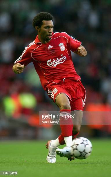 Jermaine Pennant of Liverpool in action during the UEFA Champions League third qualifying round 1st leg match between Liverpool and Maccabi Haifa at...