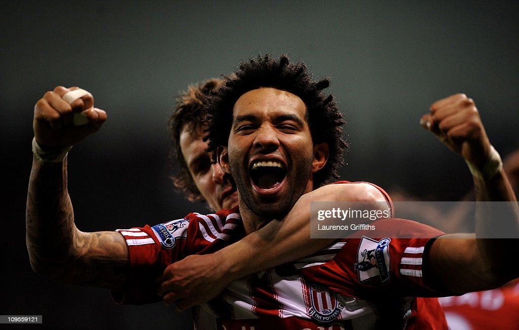 Jermaine Pennant of Stoke City celebrates after team mate Rory Delap scored the opening goal during the Barclays Premier League match between Stoke City and West Bromwich Albion at The Britannia Stadium on February 28, 2011 in Stoke on Trent, England.