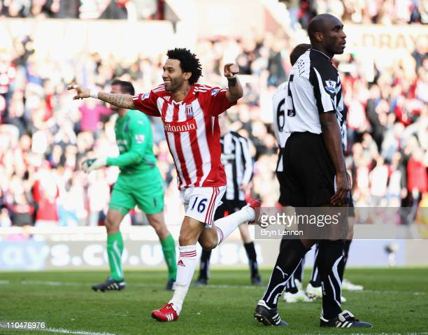 Jermaine Pennant of Stoke City celebrates scoring during the Barclays Premier League match between Stoke City and Newcastle United at Britannia...