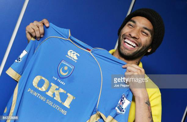 Jermaine Pennant poses after signing a loan contract untill the end of the season for Portsmouth FC, at Fratton Park on January 20, 2009 in...