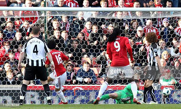 Jermaine Pennant scores his team's second goal during the Barclays Premier League match between Stoke City and Newcastle United at the Britannia...