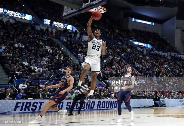 Jermaine Samuels of the Villanova Wildcats dunks in the second half against the Saint Mary's Gaels during the 2019 NCAA Men's Basketball Tournament...