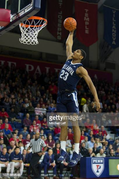 Jermaine Samuels of the Villanova Wildcats dunks the ball in the first half against the Pennsylvania Quakers at The Palestra on December 11 2018 in...