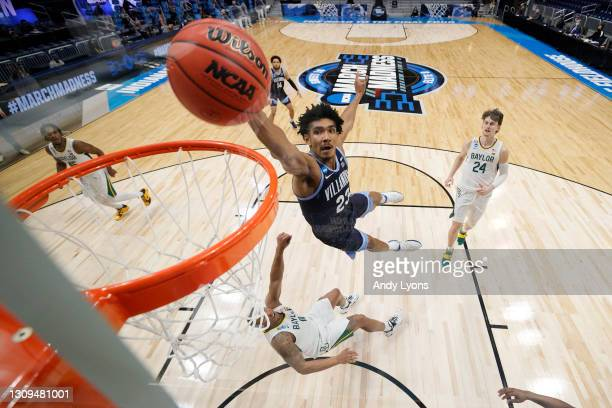 Jermaine Samuels of the Villanova Wildcats goes up for a dunk against the Baylor Bears in the first half of their Sweet Sixteen game of the 2021 NCAA...