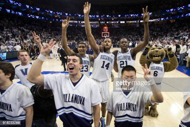 Jermaine Samuels Omari Spellman and Dhamir CosbyRoundtree of the Villanova Wildcats salute the student section after the game against the Butler...