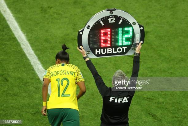Jermaine Seoposenwe of South Africa prepares to be substituted on as Fourth Official Jana Adamkova uses the Hublot LED board to indicate the...