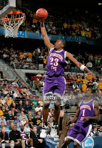 Jermaine Wallace of the Northwestern State Demons makes a layup during the First Round of the 2006 NCAA Men's Basketball Tournament against the Iowa...