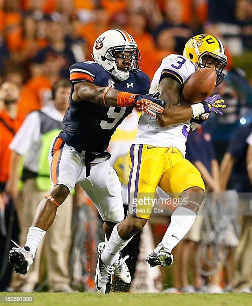 Jermaine Whitehead of the Auburn Tigers breaks up this reception intended for Odell Beckham of the LSU Tigers at Jordan Hare Stadium on September 22...