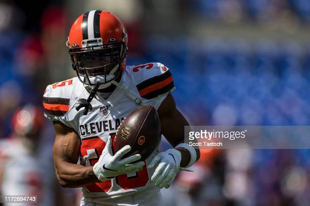 Jermaine Whitehead of the Cleveland Browns warms up before the game against the Baltimore Ravens at MT Bank Stadium on September 29 2019 in Baltimore...