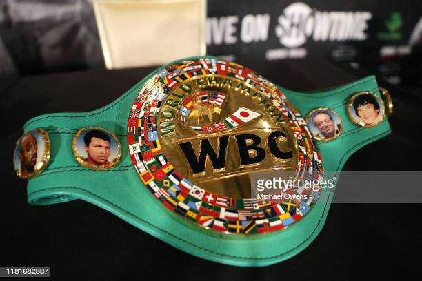 Jermall Charlo's WBC middleweight belt during a press conference at Dream Hotel on October 17, 2019 in New York City.
