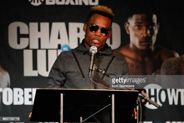 Jermell Charlo addresses members of the media during the press conference for the Showtime Championship Boxing card at Barclays Center on October 12...