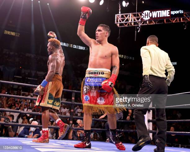 Jermell Charlo and Brian Castano react after their Super Welterweight fight at AT&T Center on July 17, 2021 in San Antonio, Texas. The Jermell Charlo...