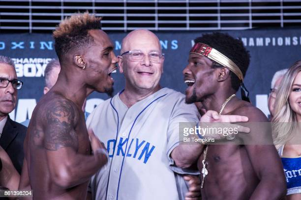 Jermell Charlo and Erickson Lubin faceoff during the Erislandy Lara vs Terrel Gausha Official Weigh In at the Barclays Center on October 13 2017 in...