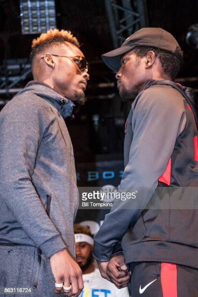 Jermell Charlo and Erickson Lubin faceoff during the Erislandy Lara vs Terrel Gausha Middleweight final press conference at the Highland Ballroom...