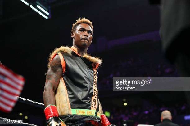 Jermell Charlo arrives for his bout against Tony Harrison for the WBC World Super Welterweight Championship at Toyota Arena on December 21, 2019 in...