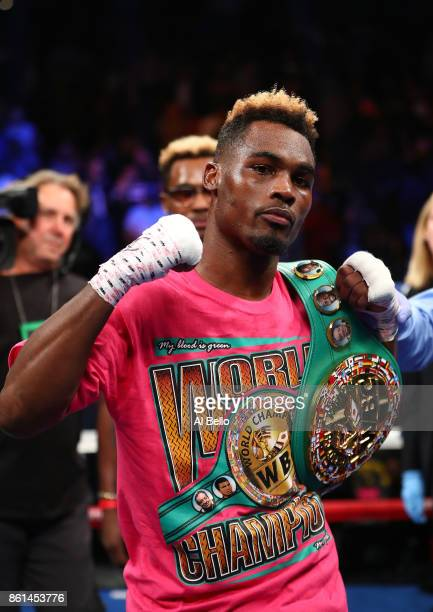 Jermell Charlo celebrates his first round knockout against Erickson Lubin during their WBC Junior Middleweight Title bout at Barclays Center of...
