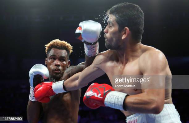 Jermell Charlo connects with a punch on Jorge Cota during their super welterweight fight at the Mandalay Bay Events Center on June 23 2019 in Las...