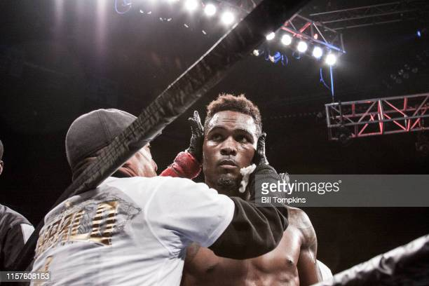 Jermell Charlo defeats Charles Hatley by TKO in the 6th in their WBC Junior Middleweight fight. Charlo is shown here at the end of the fight in...