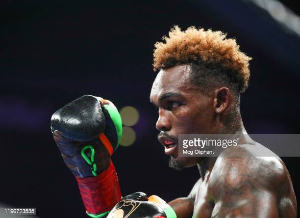 Jermell Charlo during his bout against Tony Harrison for the WBC World Super Welterweight Championship at Toyota Arena on December 21, 2019 in...