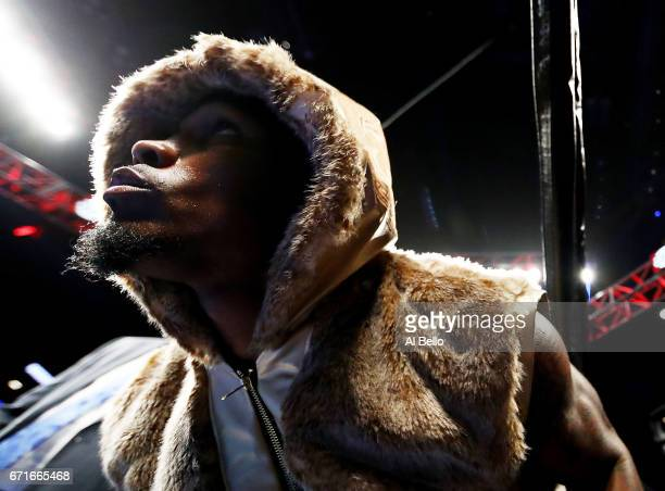 Jermell Charlo enters the ring against Charles Hatley during their WBC junior middleweight title bout at the Barclays Center on April 22 2017 in New...