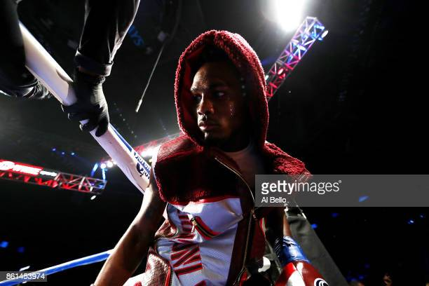 Jermell Charlo enters the ring against Erickson Lubin during their WBC Junior Middleweight Title bout at Barclays Center of Brooklyn on October 14...