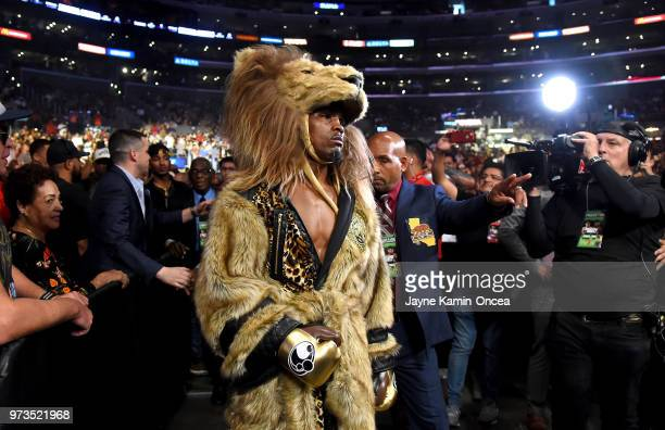 Jermell Charlo enters the ring for his fight with Austin Trout for the WBC Super Welterweight Title at Staples Center on June 9 2018 in Los Angeles...